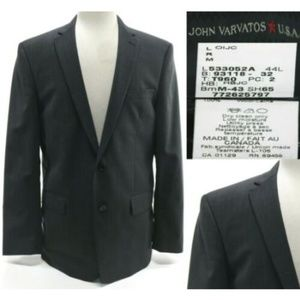 John Varvatos Men's Blazer Size 44L 2 Button Gray